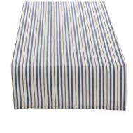 "Fennco Styles Dauphine Collection French Blue Striped Design Table Runner - 100% Cotton (French Blue, 16""x72"" Table Runner)"