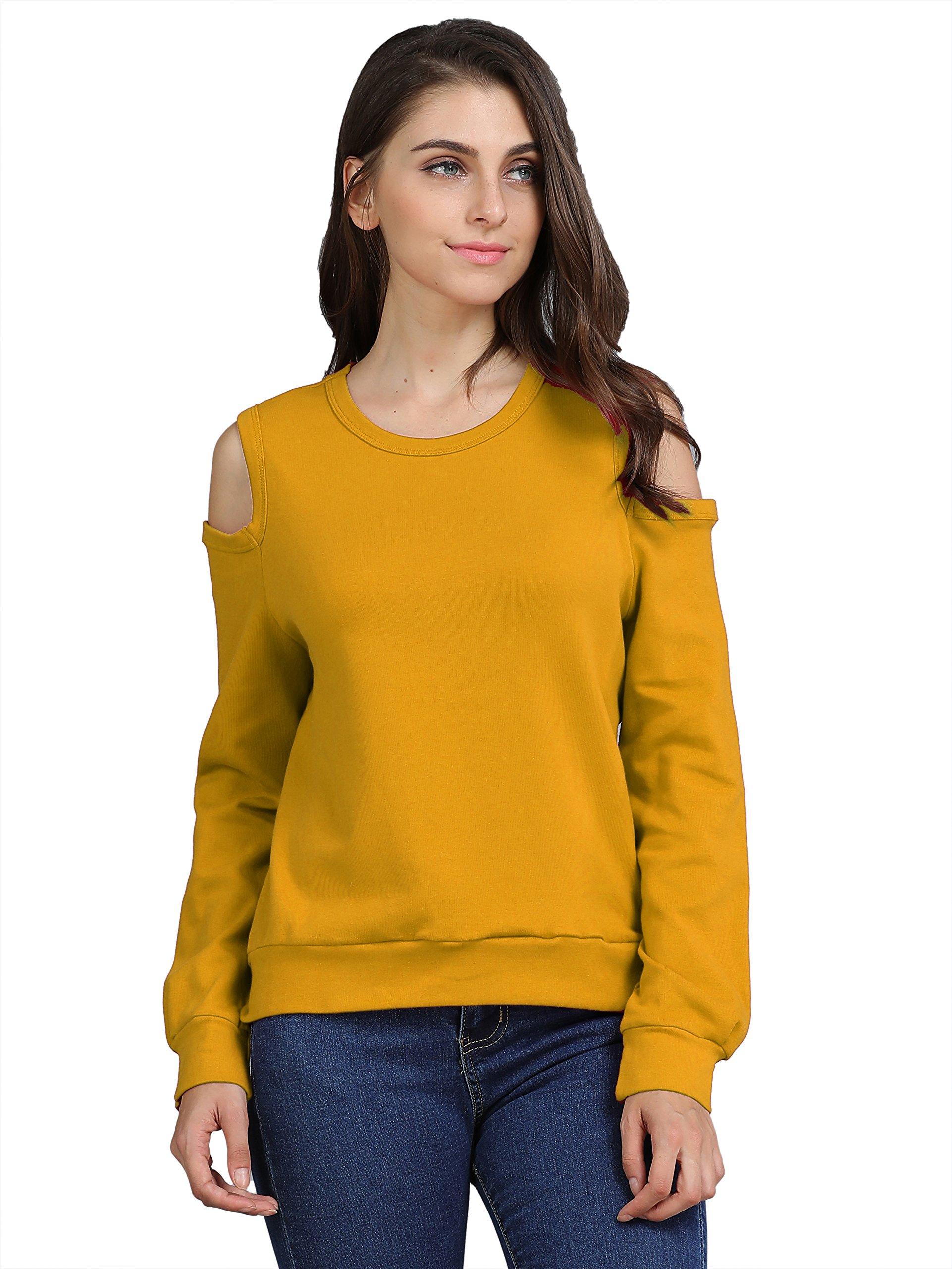 FURAMI Women's Sweatshirt Cold Shoulder Tops Casual Loose Long Sleeve Pullover Yellow M