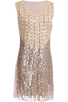 Vijiv Women's 1920s Gatsby Style Beads and Sequin Embellished Flapper Dress