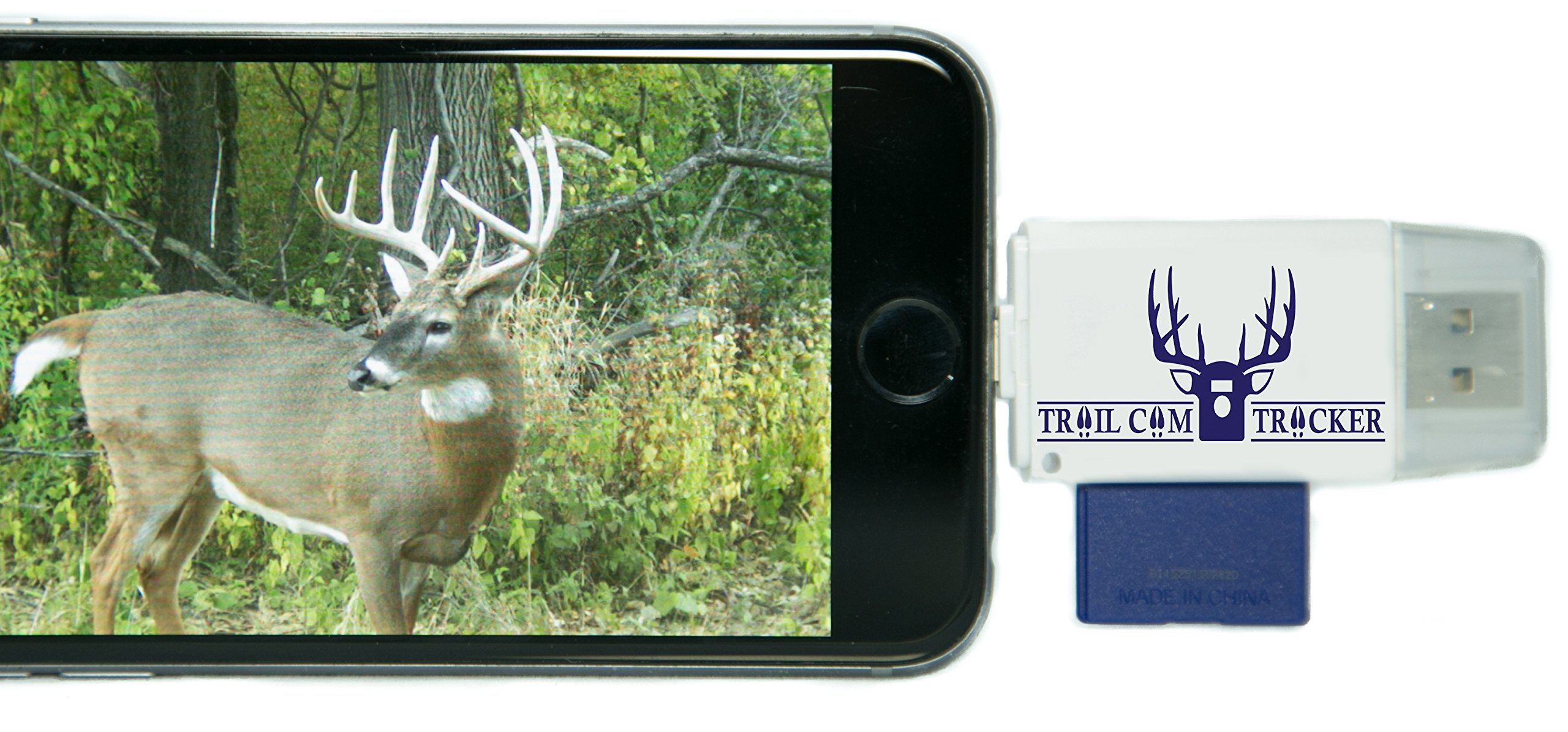 Trail Cam Tracker Trail Camera SD Card Reader for iPhone & Android – The BEST & FASTEST Game Camera SD Card Viewer – Smartphone Memory Card Reader - FREE Case (iPhone (all-in-one version))
