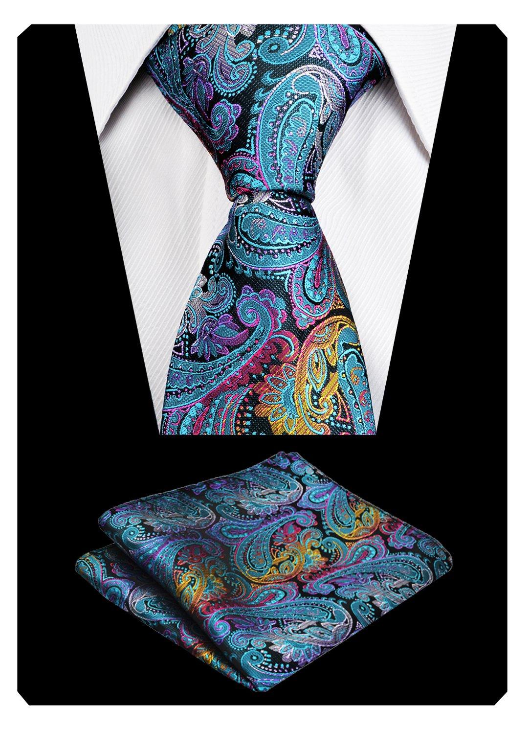 Alizeal Christmas Tie Set Paisley Silk Neckties with Woven Hanky Set(Peacock)