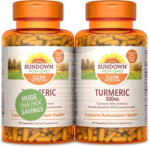 Sundown Turmeric 500mg 90 90 Twin Pack Herbal Supplements, 180 Count