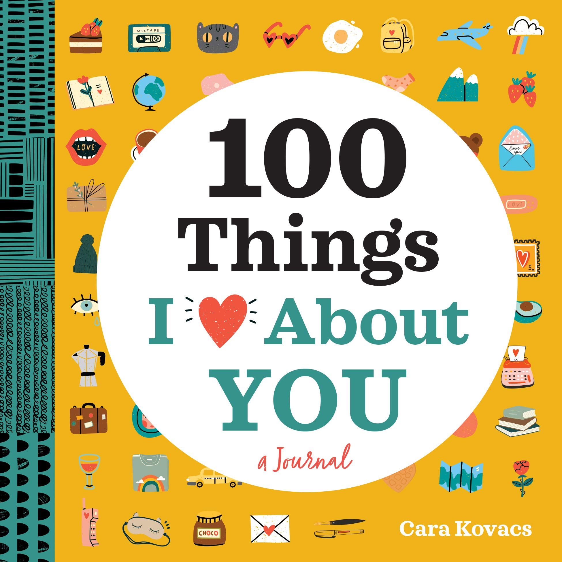 "This is an image of a couple journal with title ""100 Things I love About You"" in mustard yellow cover."