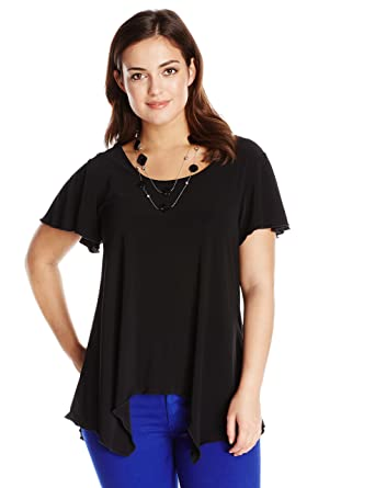 0c32865c42c Star Vixen Women s Plus Size Sharkbite Top with Clear Necklace at Amazon  Women s Clothing store