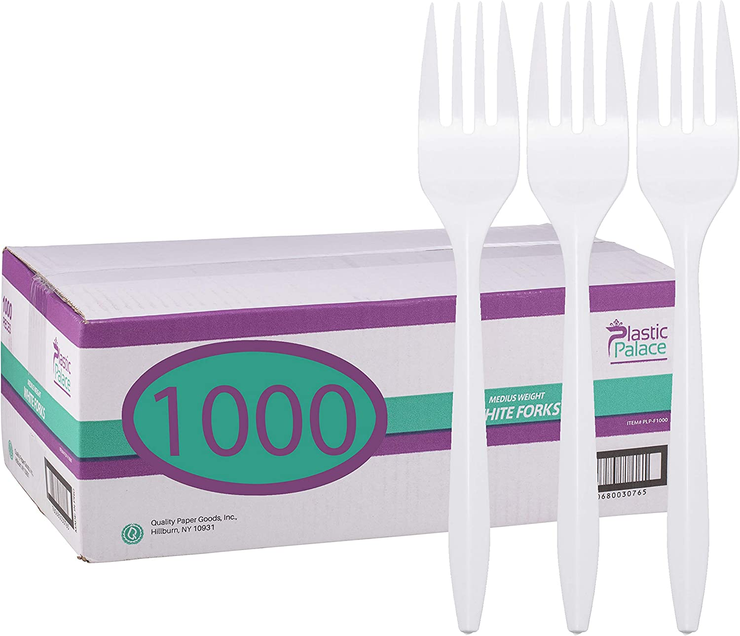 Plastic Palace MAIN-96620 White Disposable Plastic Forks in Bulk-Medium Weight (1000 Count)