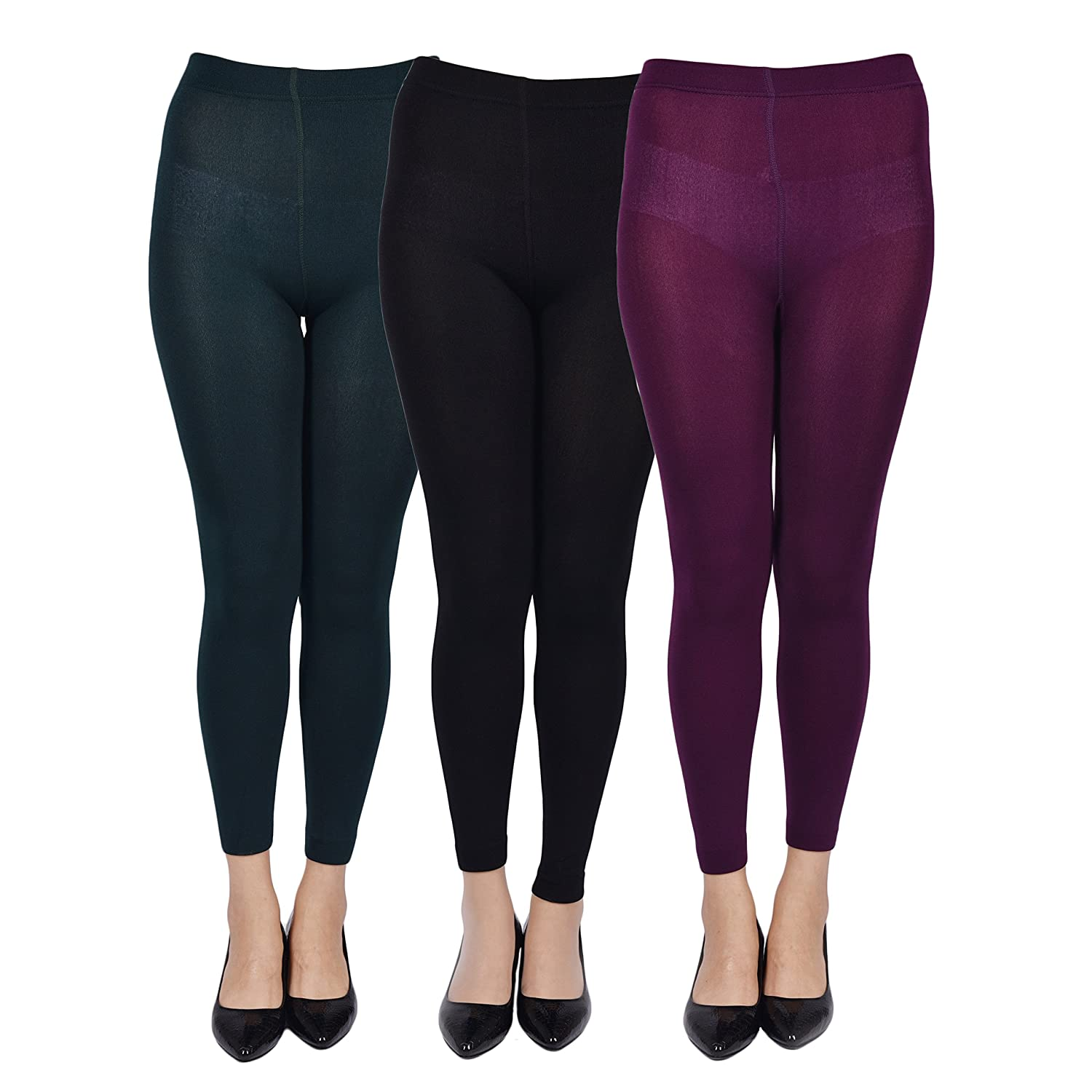 3 Pack Leggings for Women Ankle Length Seamless Fleece Lined Stretch Leggings WH161108009CWG4
