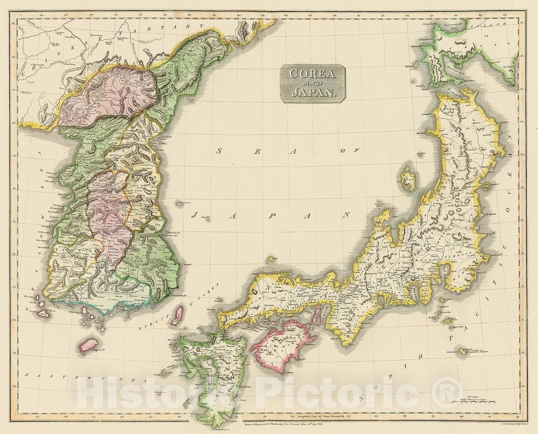 Vintage Japan Map 1860 Canvas Print Poster FRAMED