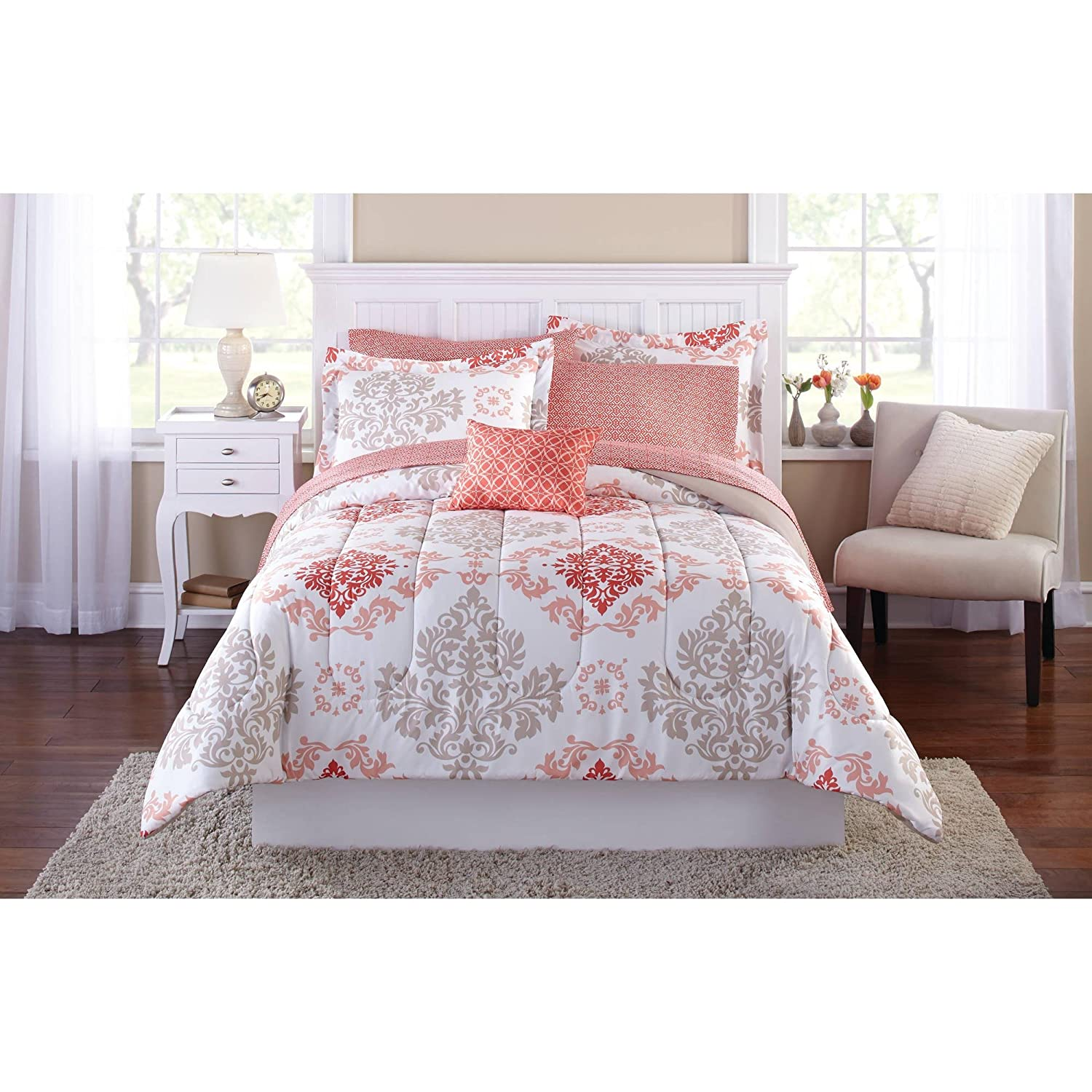 Teen Girls Pink Coral Damask 6 Piece Comforter Set