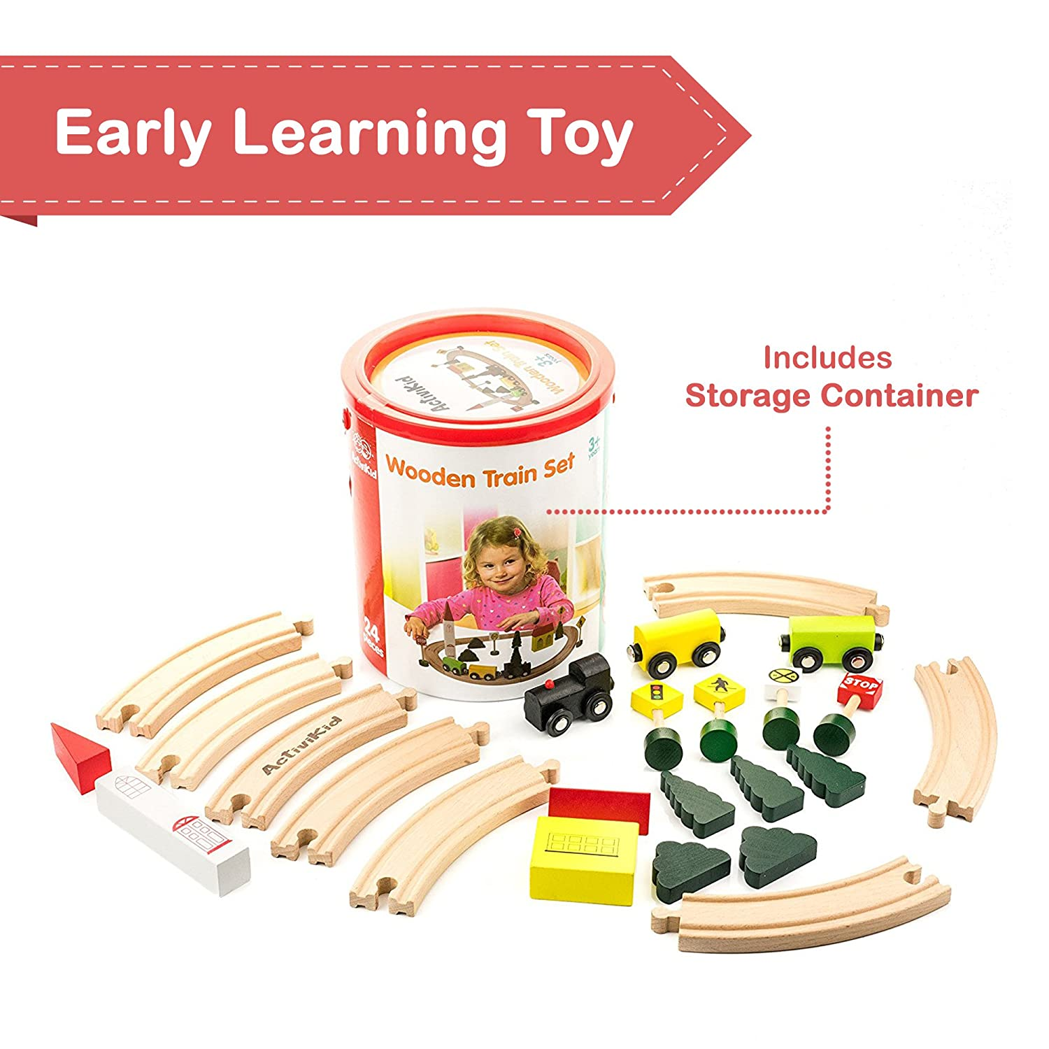 Buildings Includes Storage Container Tracks Early Learning Toys for Kids Trains Signs ActiviKid Wooden Train Set Cars Tracks Colorful City with Caboose Trees 24-piece Small