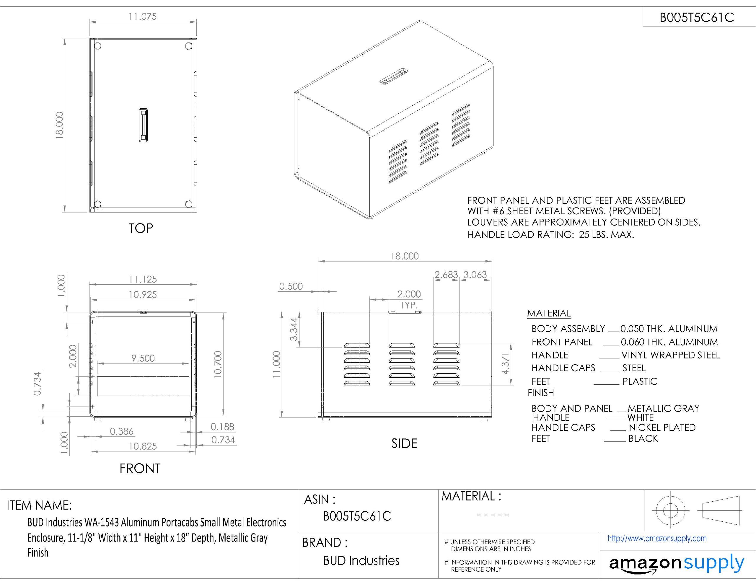 BUD Industries WA-1543 Aluminum Portacabs Small Metal Electronics Enclosure, 11-1/8'' Width x 11'' Height x 18'' Depth, Metallic Gray Finish