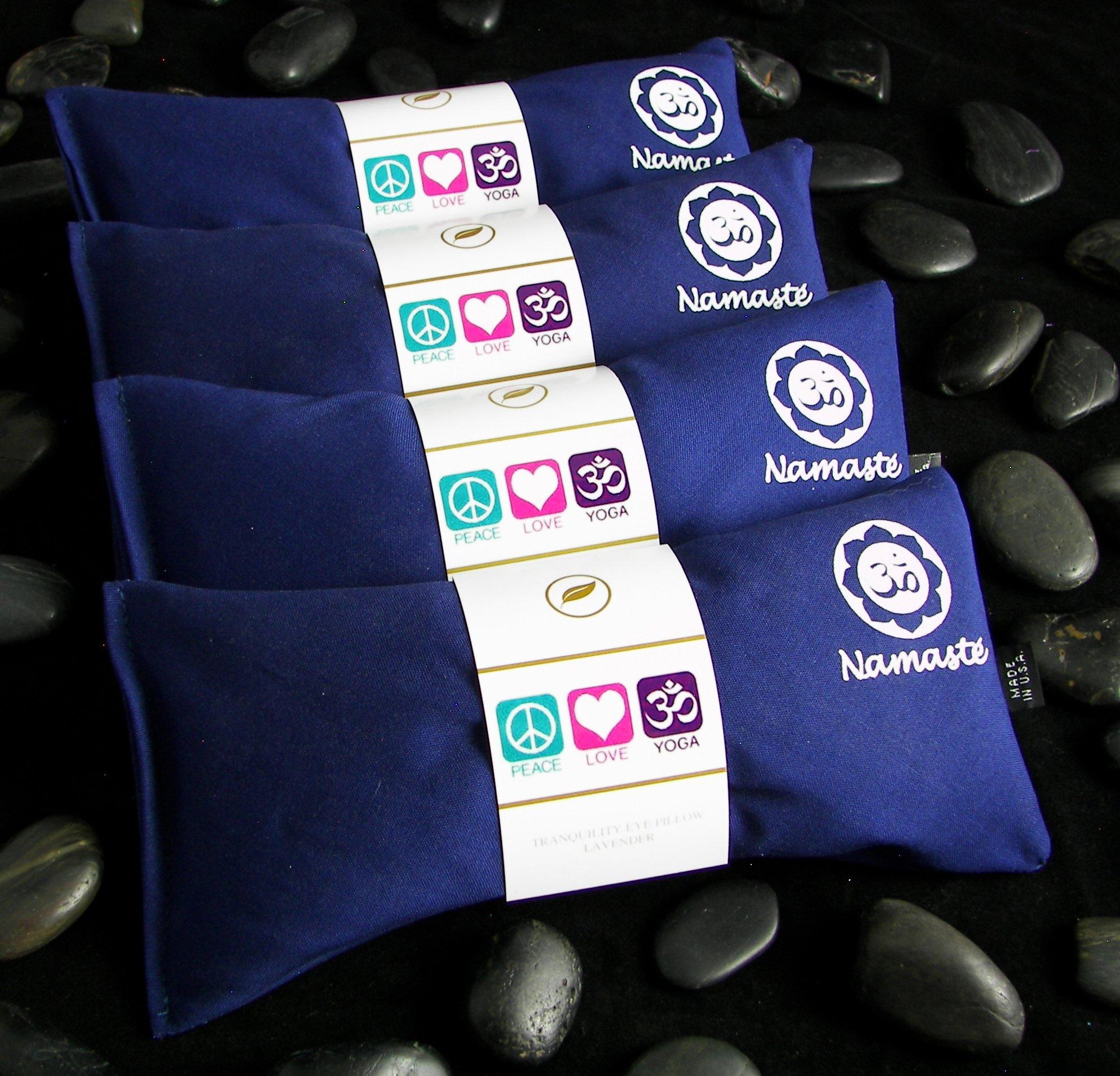 Happy Wraps Namaste Yoga Eye Pillows - Unscented Eye Pillows for Yoga - Set of 4 - Navy Cotton by Happy Wraps
