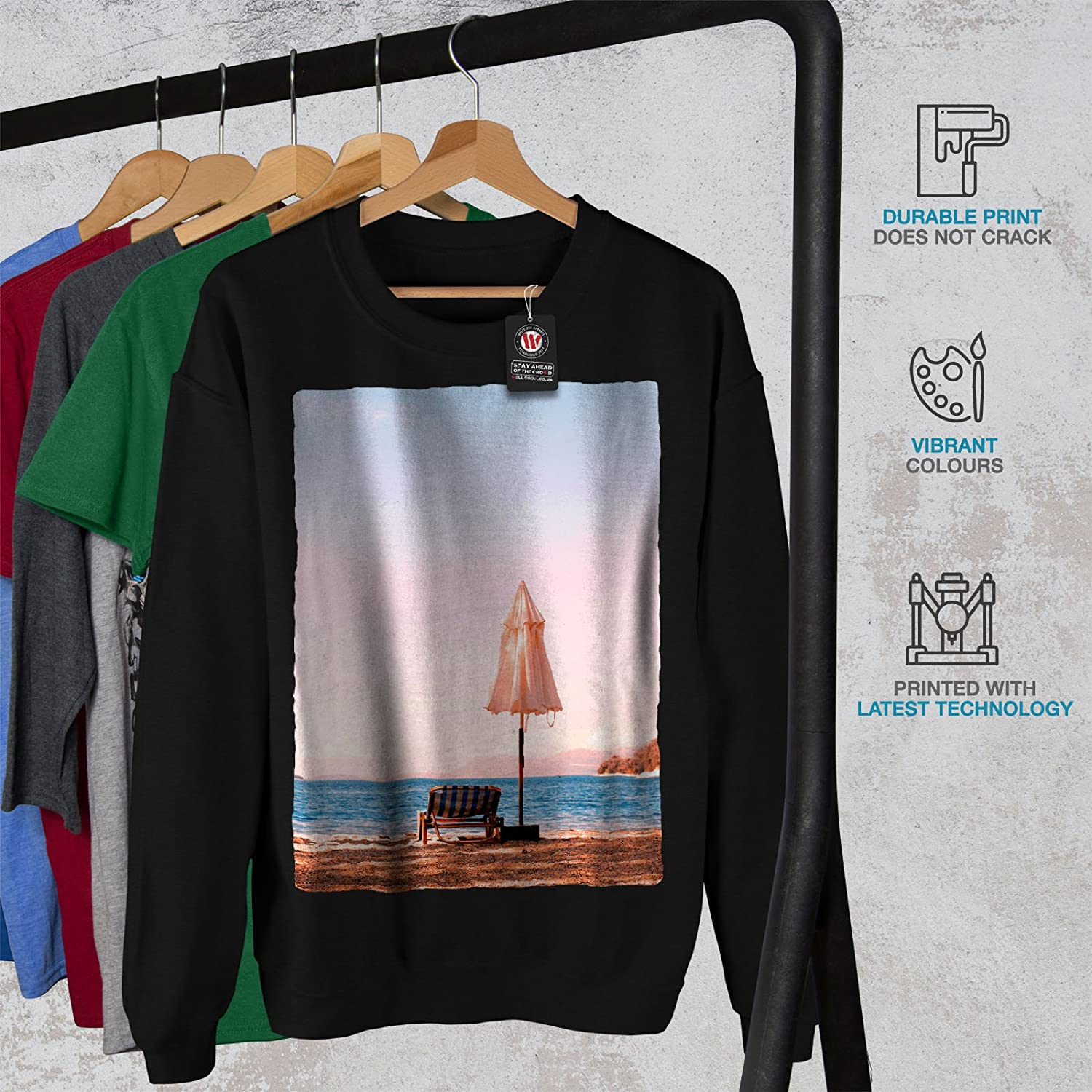 wellcoda Landscape Sea Sun Mens Sweatshirt Summertime Casual Jumper