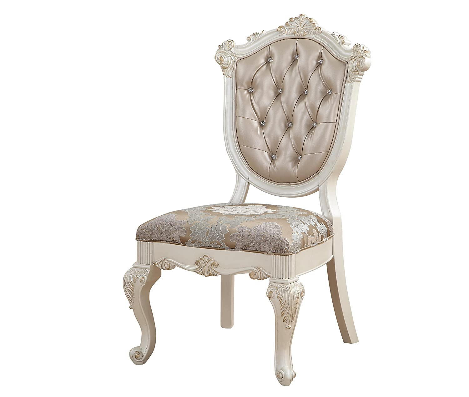 ACME Furniture Dining Chair, Rose Gold PU & Pearl White
