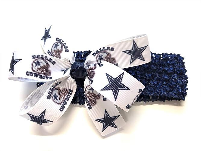 4f069edfdf0e5 Amazon.com  Girls Dallas Cowboy Headband Cowboys Football NFL Hair Bow For Newborn  Baby Girl Hair Accessories  Handmade