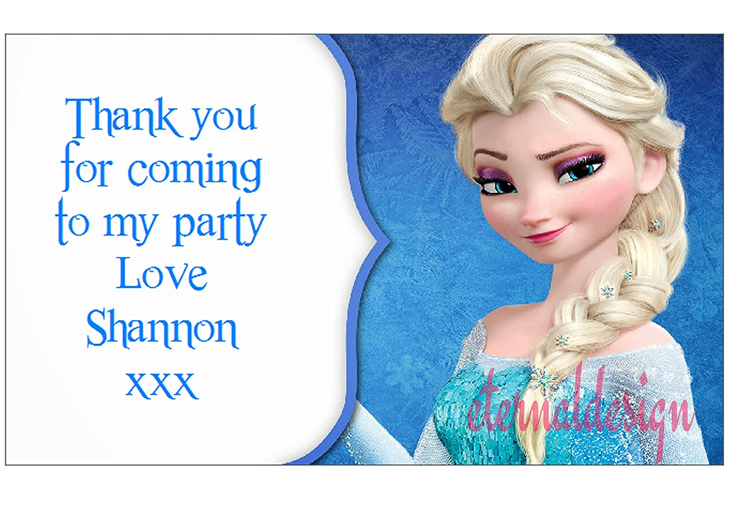 Eternal Design 21 x Personalised Kids birthday party sticker seals favours...Elsa Frozen(3kidrs)