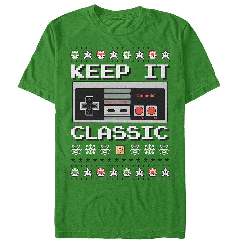 Amazon.com: Nintendo Men\'s Ugly Christmas Sweater NES Classic ...