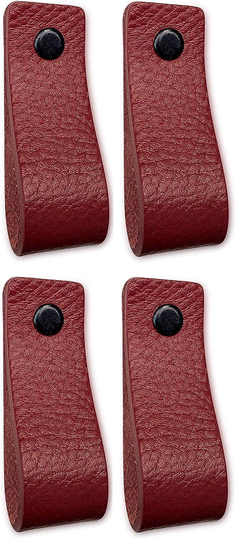 Tiradores de piel para muebles, color rojo, 4 unidades, para armarios, cocina y puerta, se envía con tornillos en 3 colores