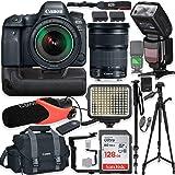 "Canon EOS 6D Mark II DSLR Camera w/Canon 24-105mm STM Lens Kit + Pro Photo & Video Accessories Including 128GB Memory, Speedlight TTL Flash, Battery Grip, LED Light, Micorphone, 60"" Tripod & More"