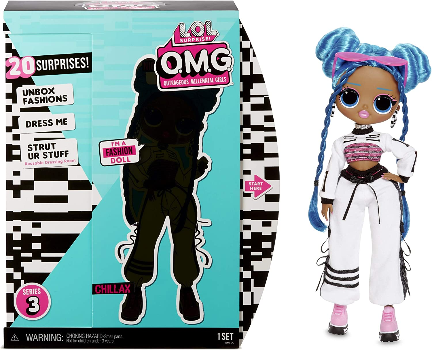 Amazon Com L O L Surprise O M G Series 3 Chillax Fashion Doll With 20 Surprises Toys Games
