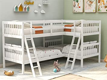 twin ove twin l shaped bunk bed detachable 2 bunk beds with ladder guardrail headboard footboard no springbox needed white twin