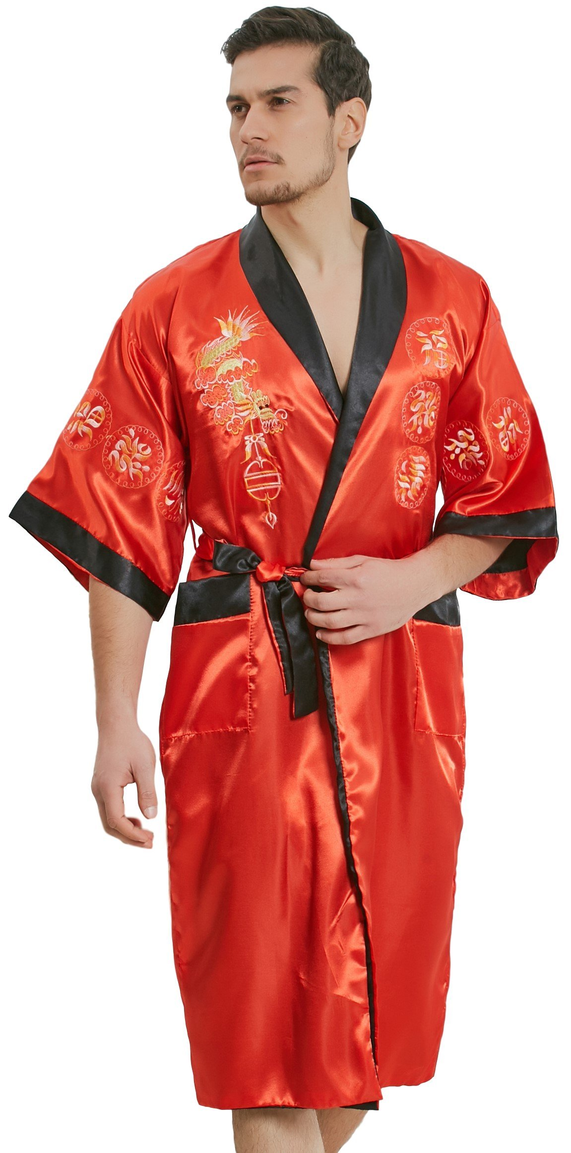 samurai JP Men s Kimono Robe Style Satin Relaxation Bathrobe (Dragon  Series Night Gown) with Towel (Red Fire Dragon) 938d30af8