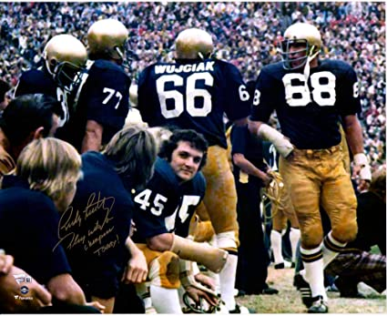 "64ce556dfa6 Rudy Ruettiger Notre Dame Fighting Irish Autographed 16"" x 20""  Celebration Photograph with"""