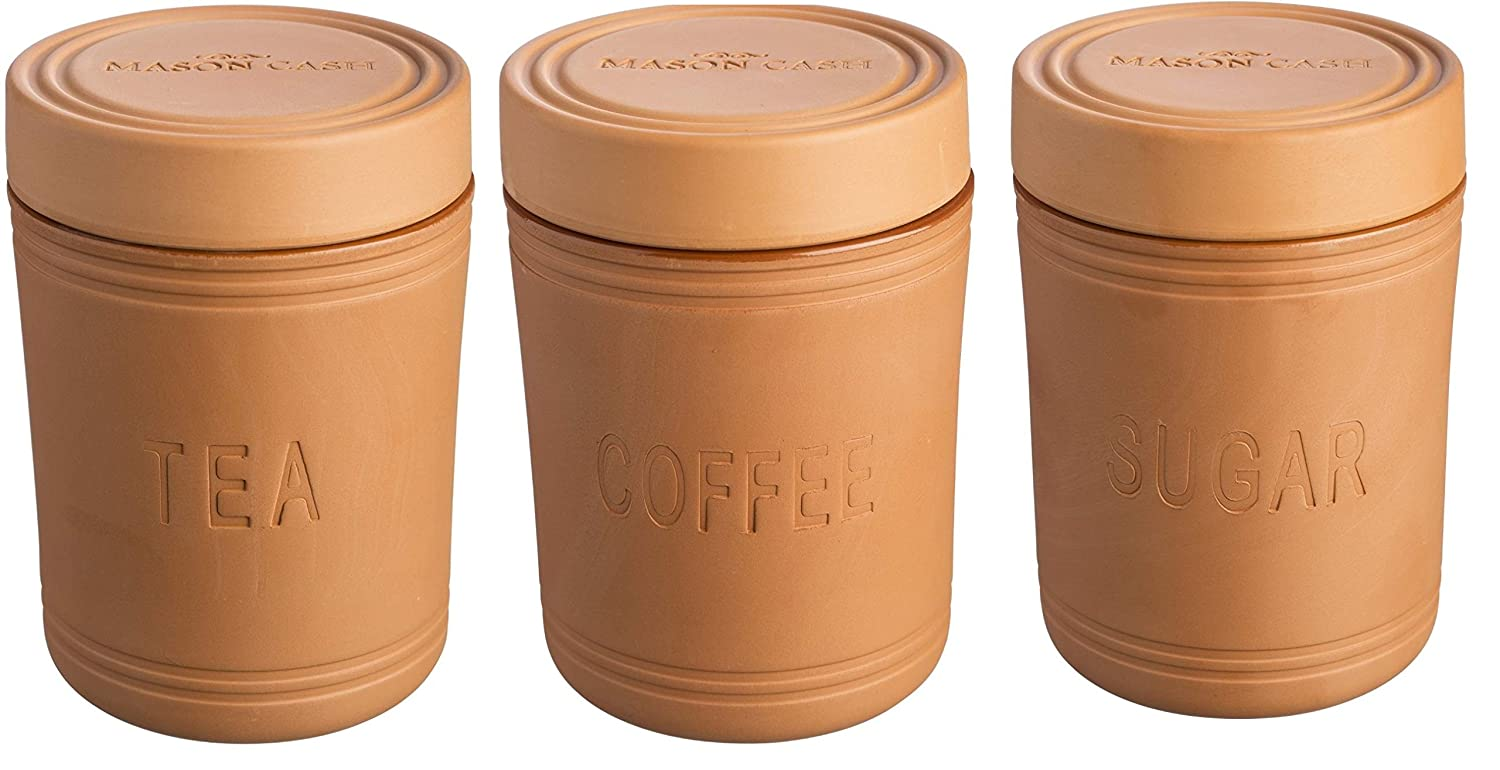 Mason cash terracotta tea coffee sugar set canister set air tight seal amazon co uk kitchen home