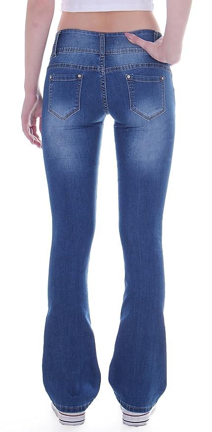Style-Station24 Damen Jeans Bootcut Hose Hüftjeans Schlaghose Stretch 3  Knöpfe blau  Amazon.de  Bekleidung 2961cb025c