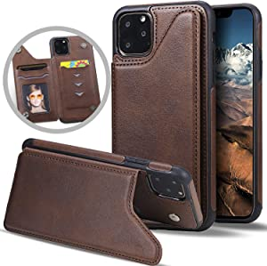 iPhone 11 Pro Max Wallet Case with Card Holder,Vodico Slim Thin Vintage Leather Cover Magnetic Closure Protective Silicone Folio Flip Phone Cases with Folding Stand for Girls/Women/Men (Coffee)