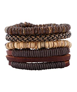 Leather Bracelet for Men Wrist Band Brown Rope Bracelet Bangle DALARAN