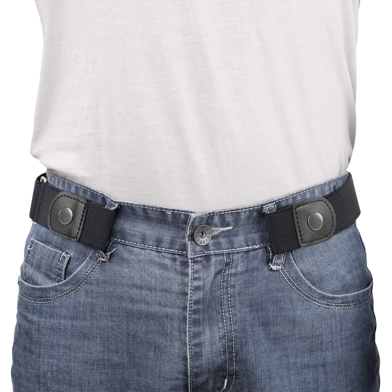 "WERFORU No Buckle Elastic Belt for Men Stretch Buckle Free Belt for Jeans Pants 1.38"" Wide"
