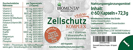 biomenta Protección Celular Complejo Con Vitaminas A,B,C C, D, E + Manganeso, cobre, Eisen, CALCIO, magnesio, Cinc ,selenio, Fósforo 60 zellschutz-kapseln 2 ...