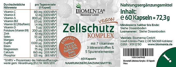 biomenta Protección Celular Complejo Con Vitaminas A,B,CC, D, E + Manganeso, cobre, Eisen, CALCIO, magnesio, Cinc ,selenio, Fósforo 60 ...