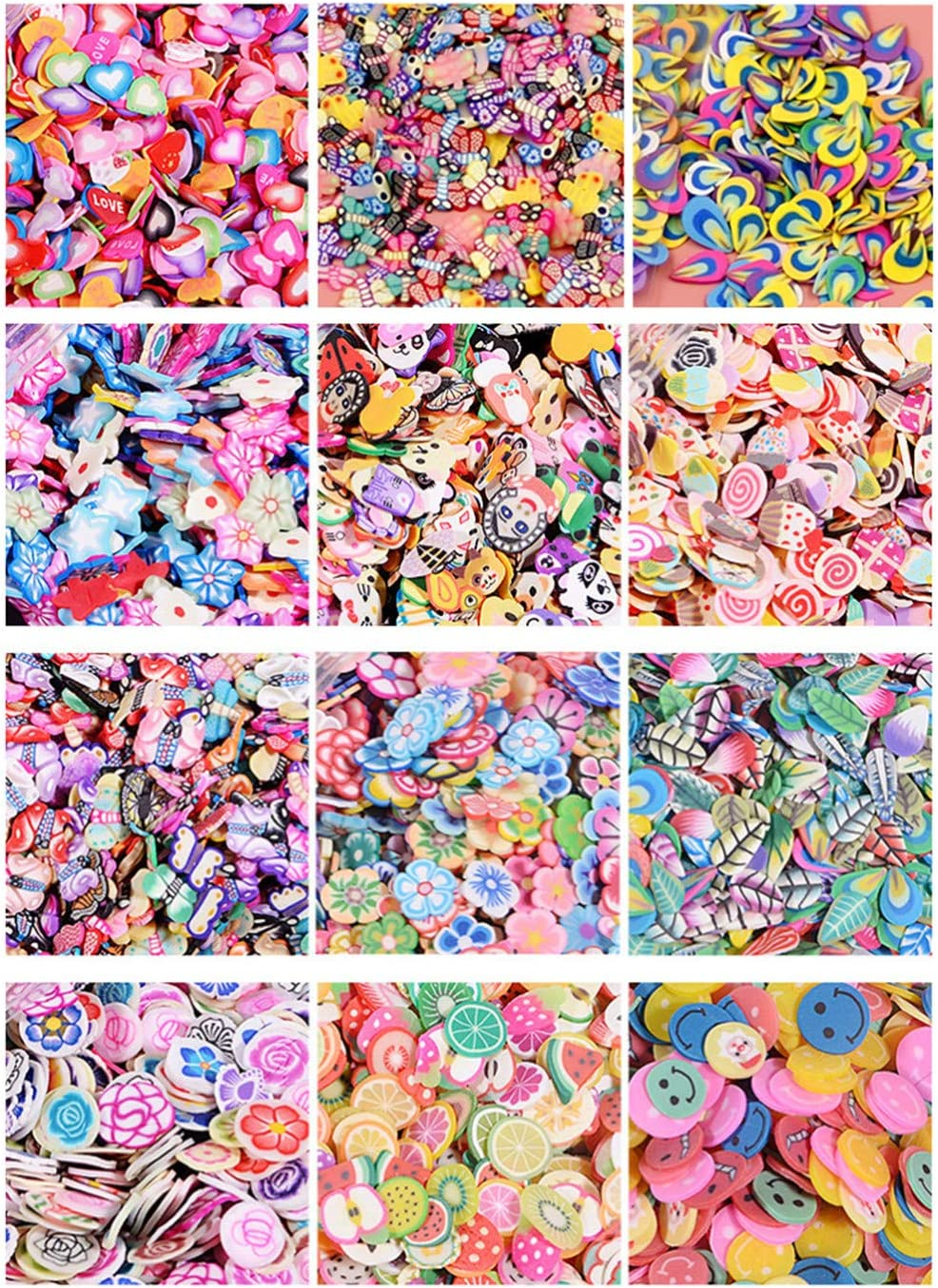 Zhiheng Assorted 12000 Pieces Small Fruit Flower Animal Slime Slices Roses Leaves Heart Dessert Smiley Shaped Resin Charms Flatback Buttons for Nail Accessories Miniature Fairy Garden Accessories