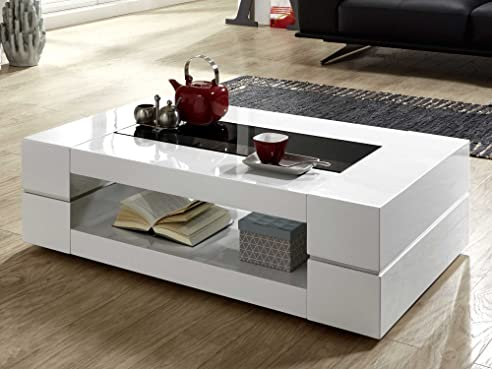 Couchtisch weiß Hochglanz mit Glasplatte Sera 140x80cm Glastisch ...