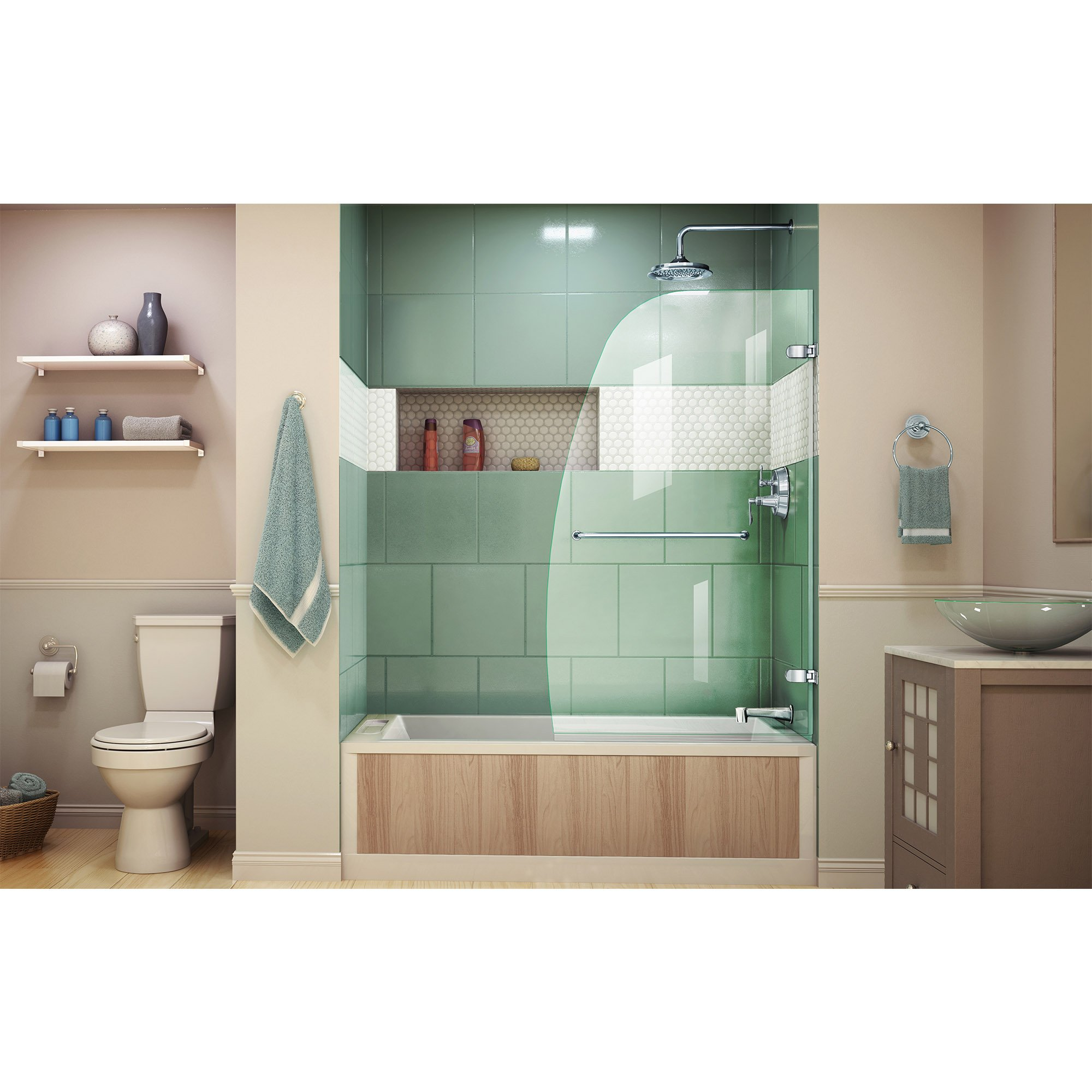 DreamLine Aqua Uno 34 in. Width, Frameless Hinged Tub Door, 1/4'' Glass, Chrome Finish by DreamLine (Image #3)