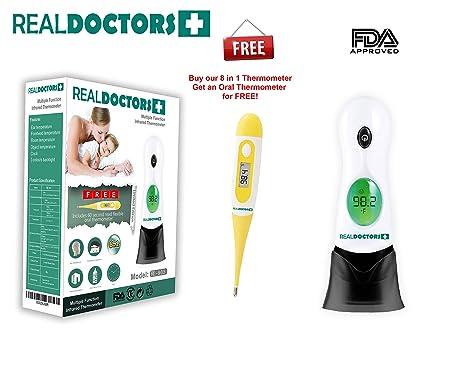 Real Doctors Termómetro digital todo en 1 multifunción, medición de fiebre en frente y oído