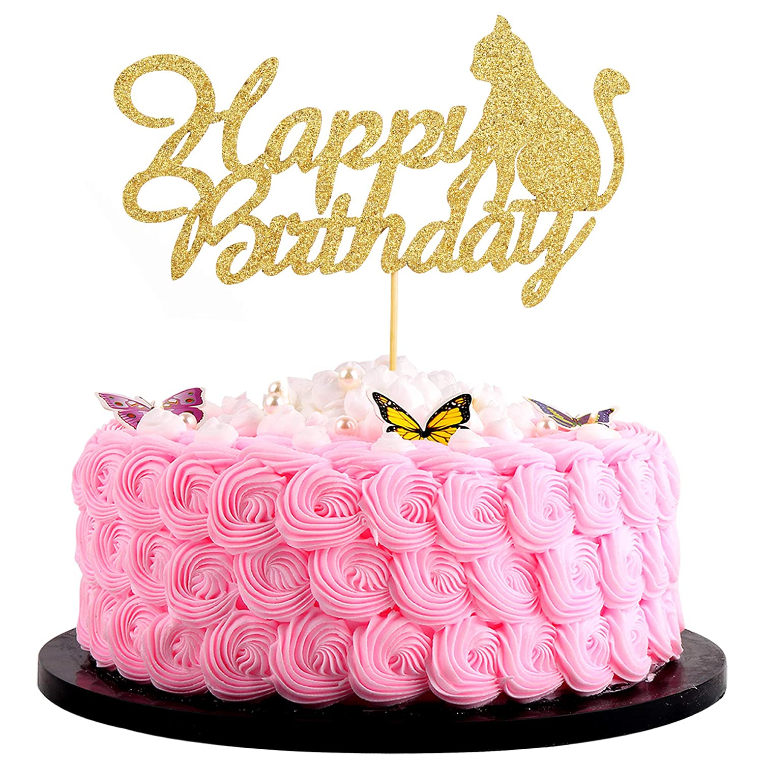 Marvelous Artczlay Happy Birthday Cake Topper Golden Flash Cat Birthday Personalised Birthday Cards Paralily Jamesorg