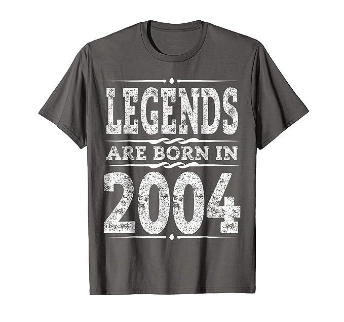 Mens Perfect 15th Birthday Gift T Shirt Age 15 Years Legends 2004 2XL Asphalt