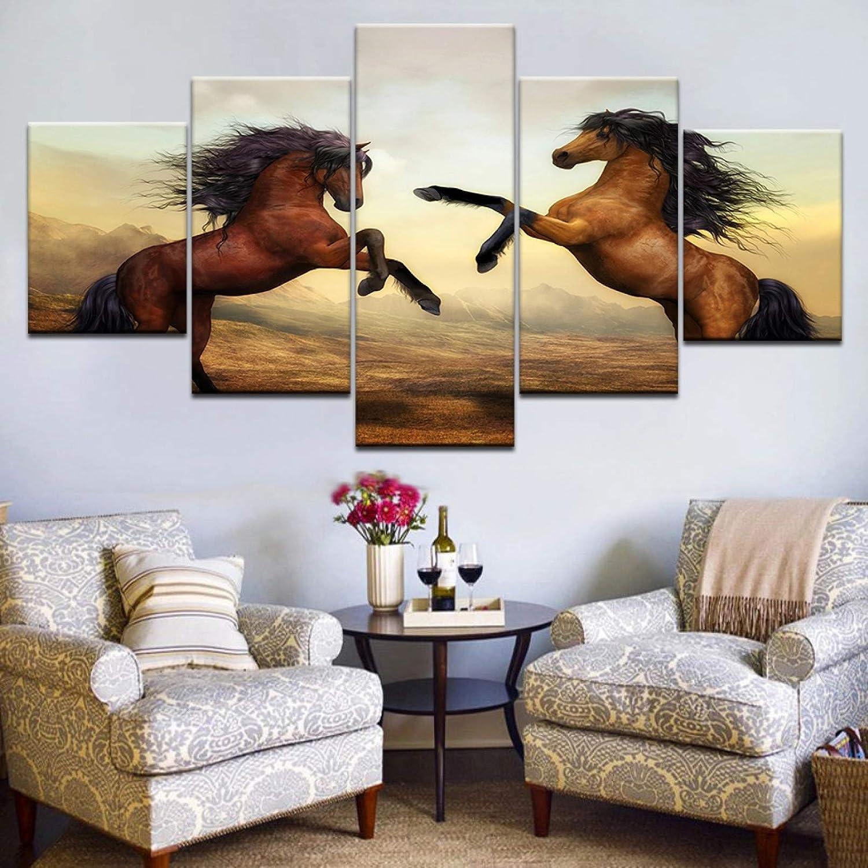 XGDDSS 5 Cuadros en Lienzo 5 Piezas HD impresión Color marrón Caballo Corriendo Animal Carteles de Pared impresión en Lienzo Pintura artística para decoración de Sala de Estar del hogar (Sin Marco)