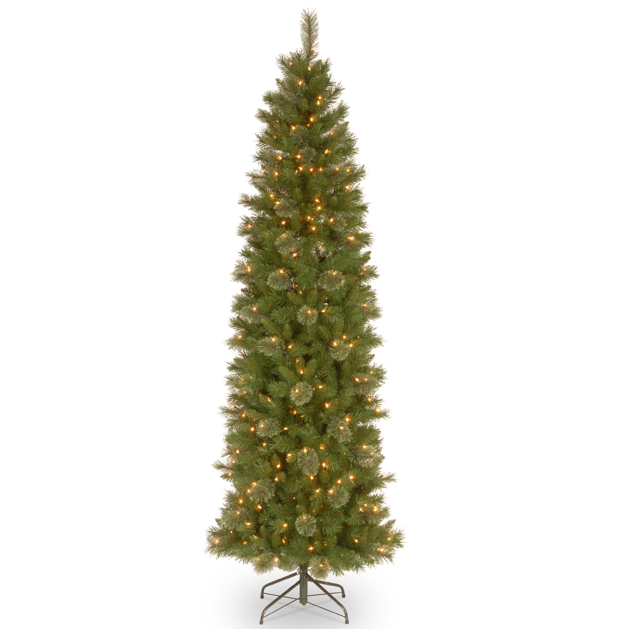 National Tree 7.5 Foot Tacoma Pine Pencil Slim Tree with 350 Clear Lights (TAP7-311-75)