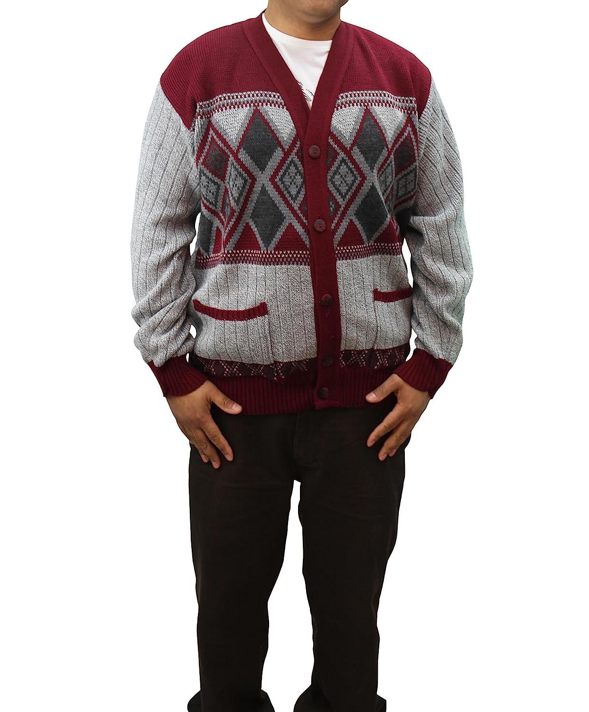Girltalk clothing Mens Grandads Button Up Argyle Diamond Cardigan KNT3027