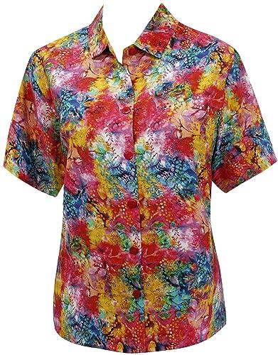 mangas vestido de las mujeres ropa de playa botón hawaiano camisa de la blusa abajo encubrimiento co...