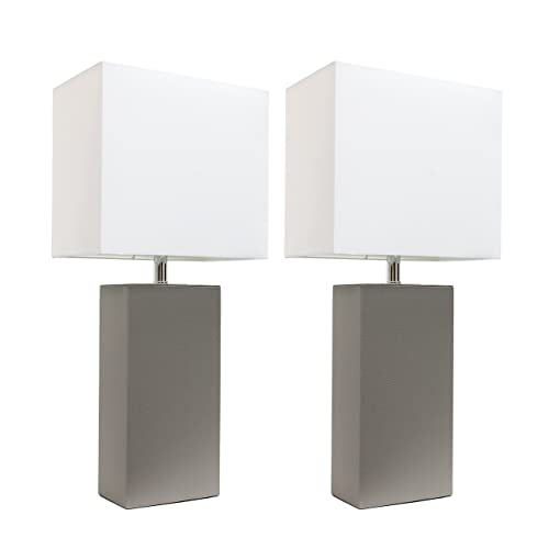 Elegant Designs LC2000-GRY-2PK 2 Pack Modern Leather Table Lamps with White Fabric Shades, Gray