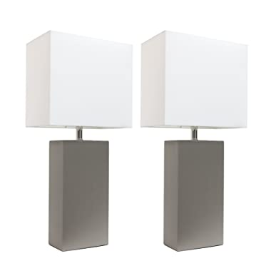 Elegant Designs LC2000-GRY-2PK 2 Pack Modern Leather Table Lamps with White Fabric Shades 3.9  Gray