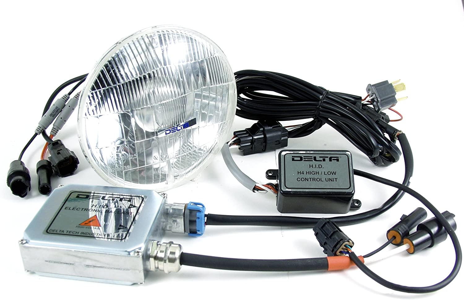 Delta Lights 01-1129-LED2 Pair 5.75 Round LED Headlight System with Classic Style Lens for High Beam