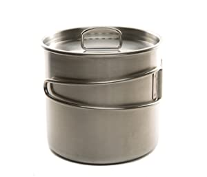 DZO Stainless Camping Backpacking Cup Pot Cook Set with Vented Lid, Folding Handles and Measurement Marks, 2 Sizes- 17 oz & 25 oz
