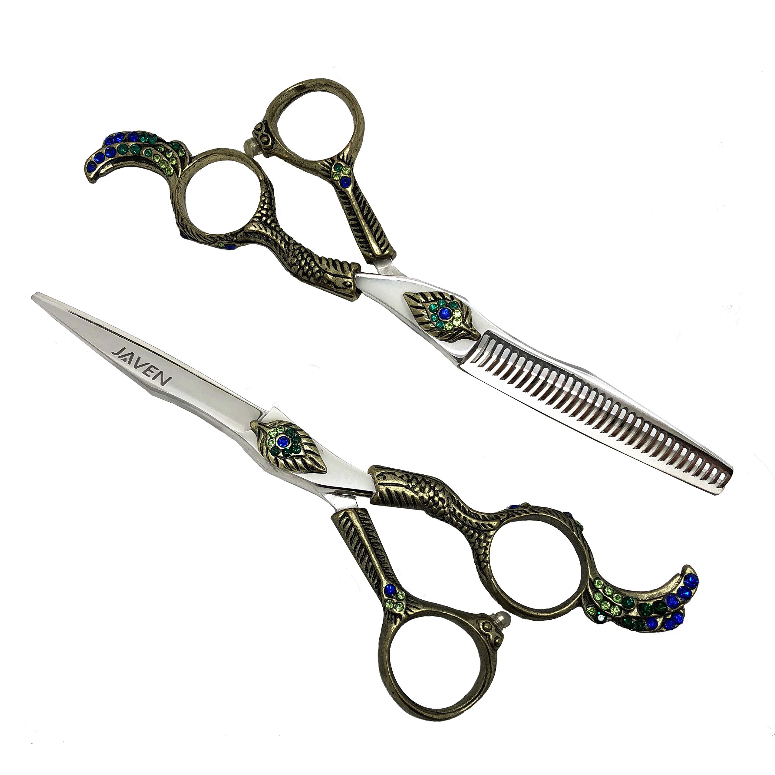 kongque JAVEN 6 Inch Hair Cutting Scissors Set Japan Hair Scissors Teflon Shears Hairdressing Scissors Barber Thinning Scissors Hairdresser Razor Haircut Right hand use (cutting+thinning/set)