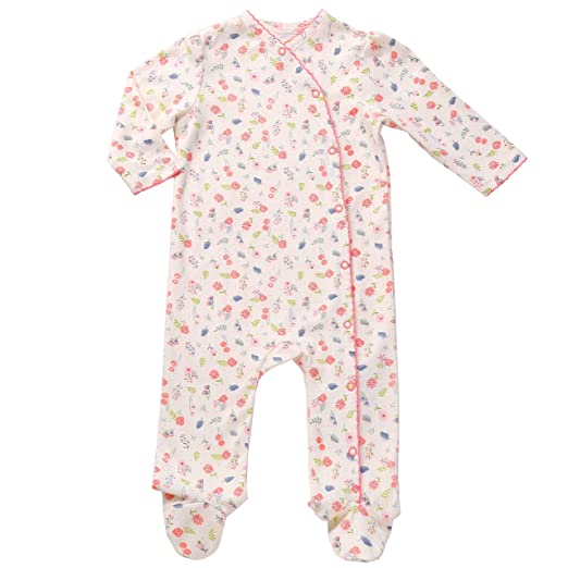 Newborn Footed Pajamas Girls Baby Sleepers Side Snap Onesie Footies Knotted  Nb Cream 32b27d88984e