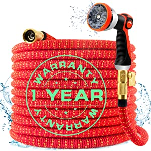 75FT Expandable Flexible Garden Hose, Expandable Water Hose with Durable 4-Layers Latex and 10 Function Spray Nozzle, 3/4 Solid Brass Connectors Garden Hose for Watering and Washing